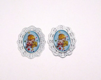 Rainbow Brite Canary Yellow and Sprite Cameo Post Earrings