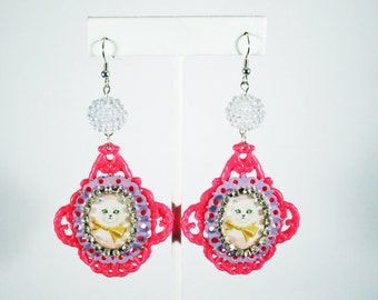 Fairy Kei Cat Pink Filigree Cameo Earrings with Rhinestone Chain Sparkle