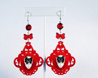 ON SALE - Gothic Red Skull Lucite Filigree Earrings with Swarovski Accents