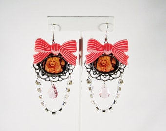 Courtney Love Crystal Drop Earrings with Pink Laser Cut Bow