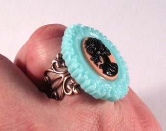 Gothic Teal and Peach Cameo Cocktail Ring on Copper Filigree Base