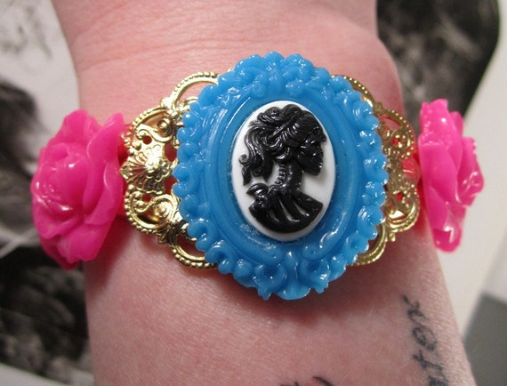 Gothic Lolita Cameo Gold-Plated Cuff Bracelet with Hot Pink Roses