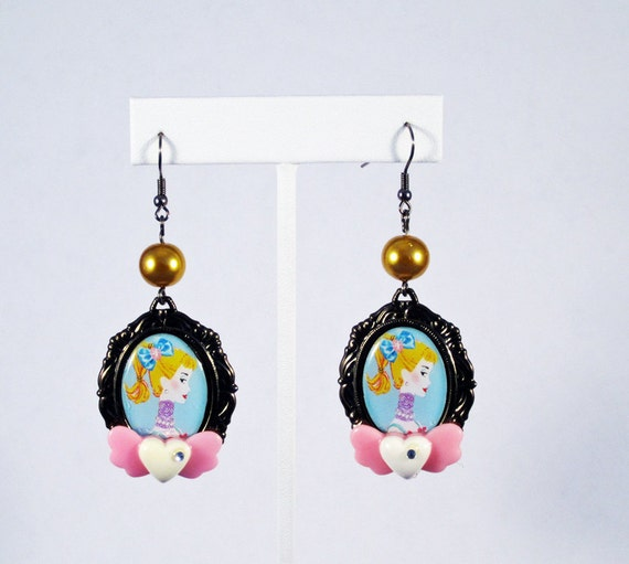 Barbie Cameo Earrings with Sweetheart Accents