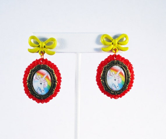 Lisa Frank Style Unicorn Cameo Earrings on Red Resin Settings with Vintage Yellow Bow
