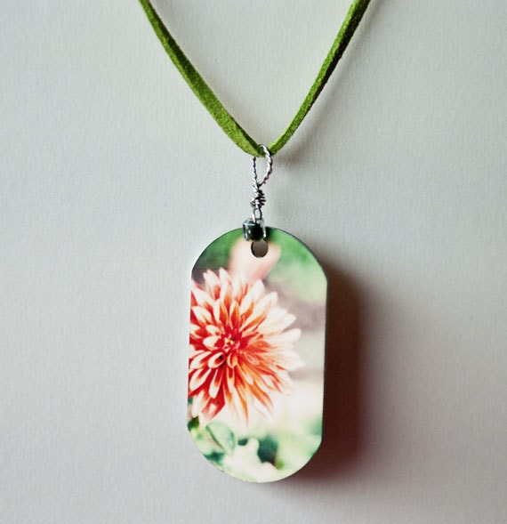 Metal photo pendant, Necklace, metal print, dog tag shape, suede cord, modern, young adult, flower