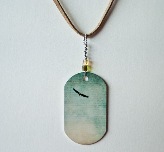 Metal photo pendant, Necklace, metal print, dog tag shape, suede cord, modern, young adult, eagle