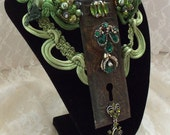 Green Steampunk Necklace, Statement Couture Neck Piece, rhinestones, Antique key hole, Neo Victorian