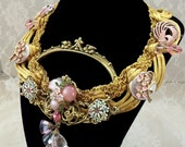 Floral Victorian Bib, Statement Necklace, Vintage Couture Bridal Collar, Pink n Gold, OOAK by Marelle Couture