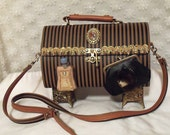 Statement Handbag, Victorian Purse, Haute Couture Handbag, Brown n Black Striped, Unique Vintage Purse.