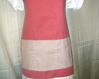BOGO FULL BIB Apron Handmade  Pink Gingham and Stripes with Blue Hearts