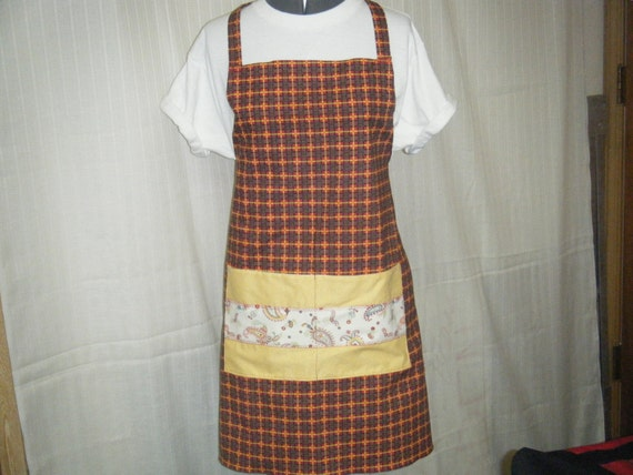 BOGO FULL BIB Apron Handmade Plaid and Paisley