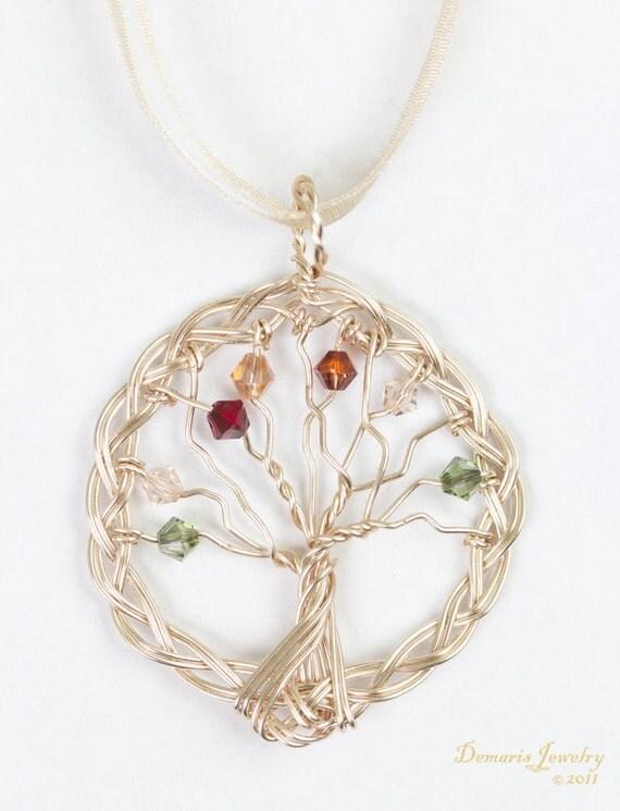 Mother's Braided Family Tree- Swarovski Crystal Personalized Custom Original Design