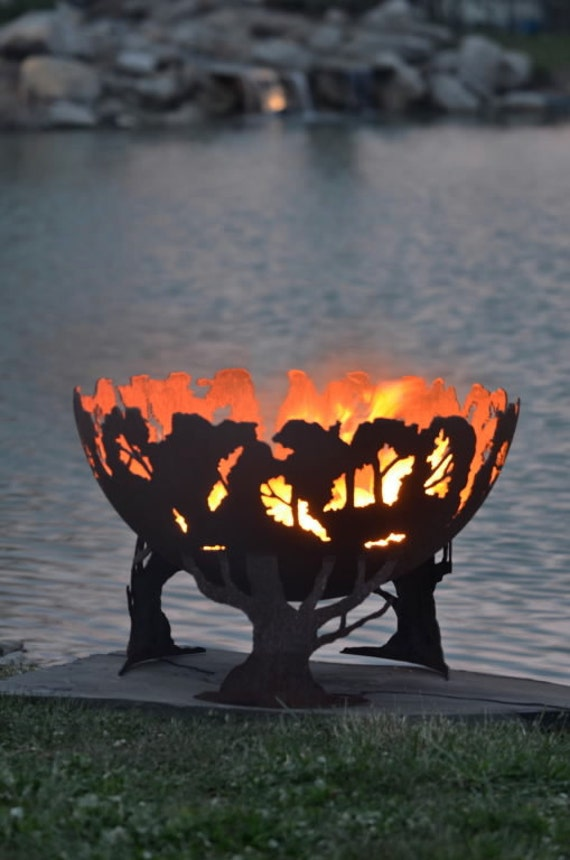 Forest Fire - Tree Fire Pit - Functional Art for your backyard - Sculptural Fire Bowl