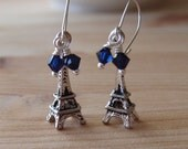 50-34 Little Girl's Eiffel Tower and Sapphire Blue Crystal Sterling Silver Earrings