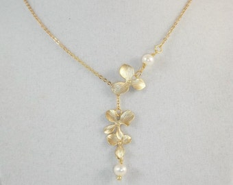 Freshwater Pearls And Matte Gold Orchid Lariat Necklace