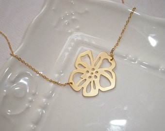Gold Hibiscus Necklace, Flower Necklace, GOLD FILLED NECKLACE