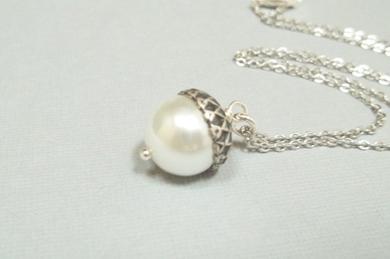 Acorn Necklace, Sterling Silver Acorn Necklace, Pearl Acorn Necklace, Fall Necklace, Bridesmaid Gift, Gift For Her