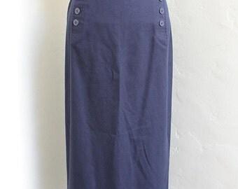 Nautical, Maxi Length, High Waist Pencil Skirt with US Navy Anchor buttons