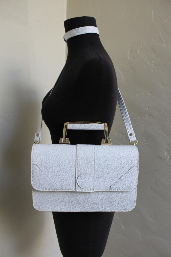 1980s Le Deco White Leather Satchel Bag.