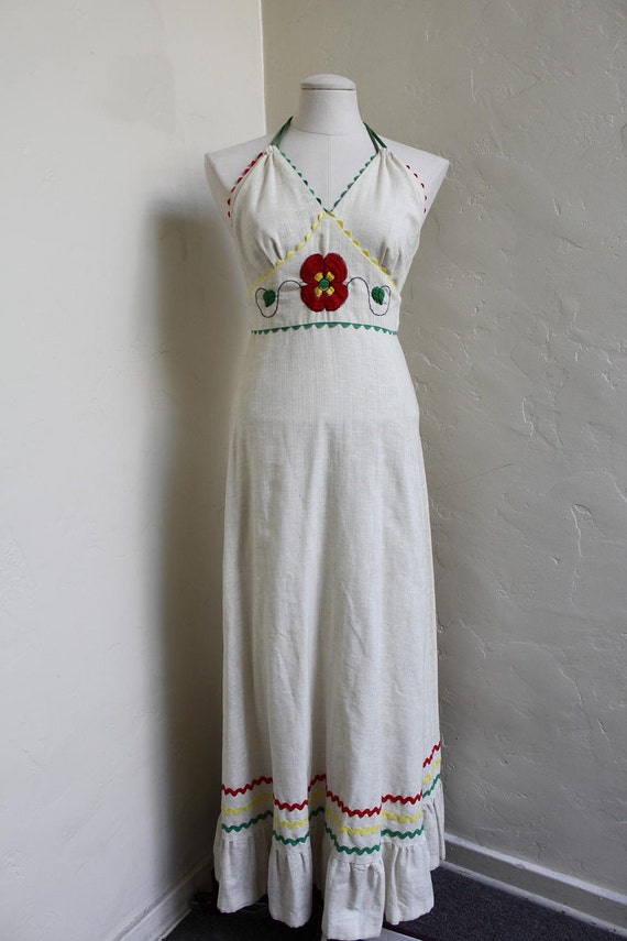 Flower Child - Fabulous 1970's Muslin and Calico, Halter Maxi Dress With Big Red Poppy and Rick Rack detail