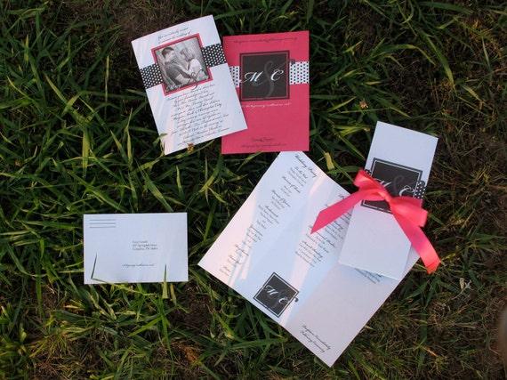 Pink and Black Polka Dot Wedding Invitation SAMPLE