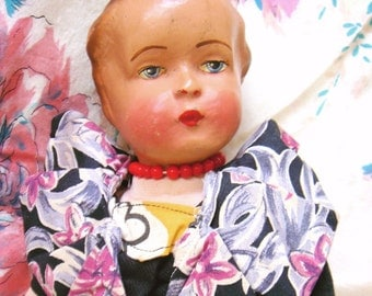 Antique German Bisque Head Doll-Ruby
