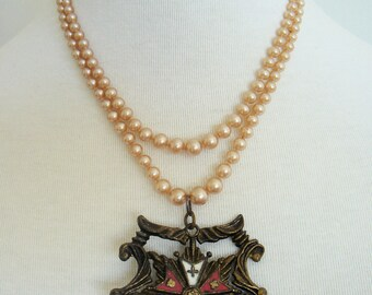 Vintage Enamel and Pearl Royal Crest Necklace