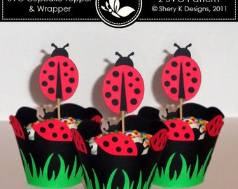 SVG Ladybug Cupcake Topper and Wrapper