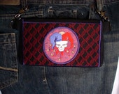 "Hands Free Bag Hip Pouch Embroidered  Belt Bag ""Last Laugh"" Skull Jester  Bikers Hikers Tourist Rider Sturgis Motorcycle Bike Rally"
