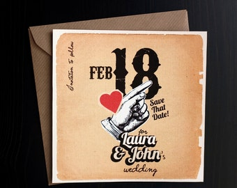 """Printable Save the date with Vintage style and red heart - """"Something old"""""""