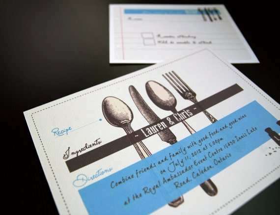 Printable Wedding Invitation Set Food Theme Recipe
