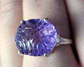 Gorgeous Violet Carved Amethyst In Sterling Silver Cocktail Ring OOAK  6.86ct Size 7.5