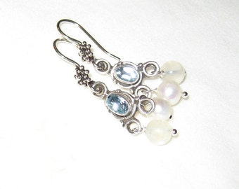 Blue Topaz Peridot, Moonstone And Pearl Earrings In Antique Sterling Silver