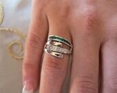 Channel set princess cut emeralds & diamonds on 14K white gold ring