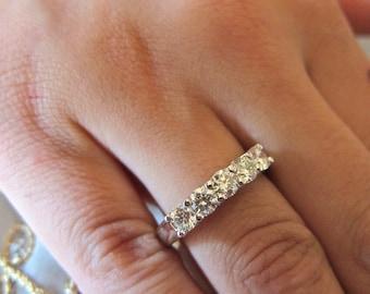 Gold & diamond common prong wedding band