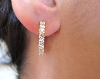 Common prong 14k yellow gold hoops