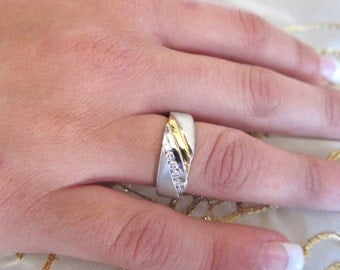 Round channel platinum&18yellow gold wedding band