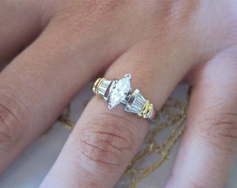 Marquise & Baguette on Platinum,18k Yellow Gold Engagement Ring.