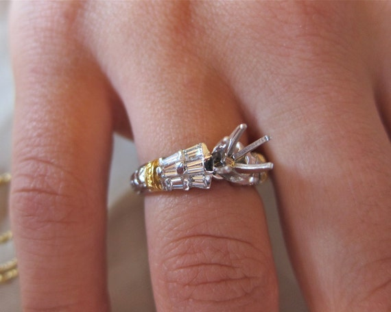 Diamond Baguetts on platinum &18k yellow gold engagement ring