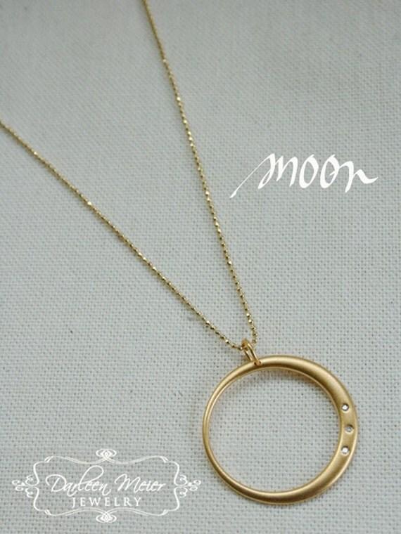 Moon Diamond 14K Gold Vermeil Circle Pendant necklace