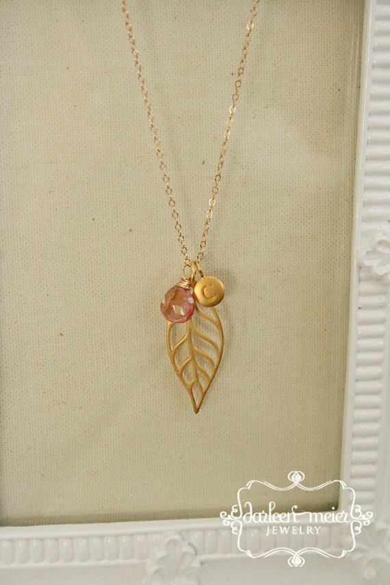 Leaf charm Personalized Birthstone Monogram Initial Gold Plated necklace