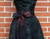 CUSTOM Listing RESERVED - Womens Halloween Apron - Black Spiderweb Cut Velvet Taffeta