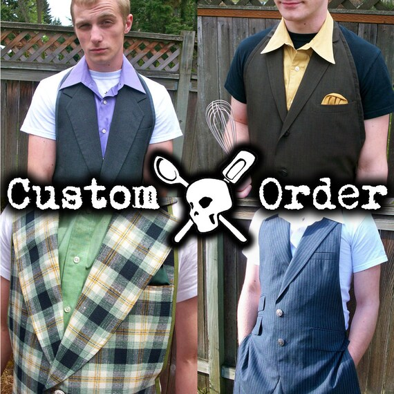 Custom Men's Apron Up-Cycled from Suit Jacket - Made to Order