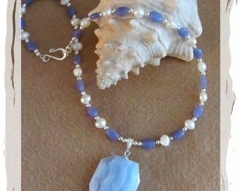 Chalcedony With Fresh Water Pearls