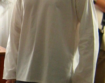 White linen men shirt historical costume inspirations , viking embroidery / casual beach linen shirt