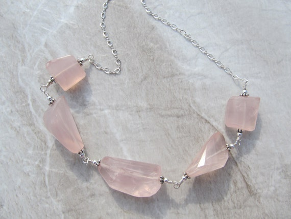 Rose Quartz Necklace in Sterling Silver, Faceted Nuggets, Hand Wrought -Daenerys