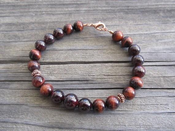 Mens Red Tigers Eye & Garnet Bracelet in Copper