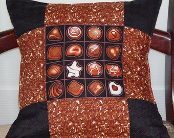 Chocolate and Coffee Pillow-Sale- Foodie Gift-14x14 inch 35 x 35 cm