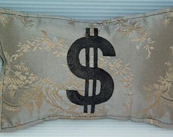 Money Mini Pillow-Dollar Sign Pillow- Feng Shui Object- 5 x 8 inch 13 x 20 cm