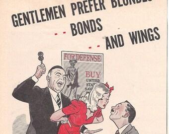 Vintage WWII Ad 1943- War Bonds- PinUp- 5 x 10 inches 13 x 25  cm
